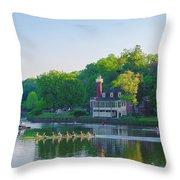 Sedgeley Club - Boathouse Row Throw Pillow
