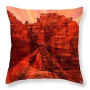 Sedona Sunset Energy - Abstract Art Throw Pillow by Carol Groenen