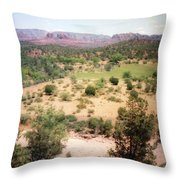 Sedona View Red Rock Mesa Throw Pillow