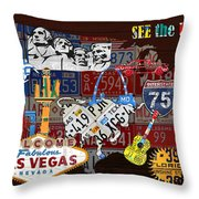See The Usa Vintage Travel Map Recycled License Plate Art Of American Landmarks Throw Pillow