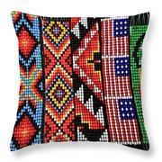 Seed Beading Throw Pillow by Tracy Hall