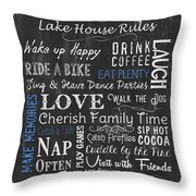 Seeger Lake House Rules Throw Pillow