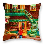Segal's Fruit And Variety Store Throw Pillow