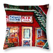 Segal's Market St.lawrence Boulevard Montreal Throw Pillow