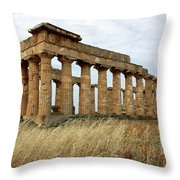Segesta Greek Temple In Sicily, Italy Throw Pillow