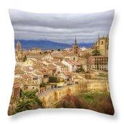 Segovia Cathedral View Throw Pillow