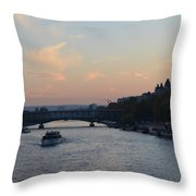 Seine At Sunset Throw Pillow