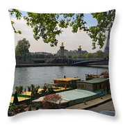 Seine Barges In Paris In Spring Throw Pillow