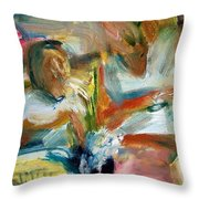Selecting Vegetables Throw Pillow