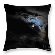 Selene Peaking From The Clouds Throw Pillow