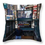 Self At Subway Stairs Throw Pillow