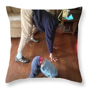 Self Portrait 8 - Downward Dog With Grandson Max On His 2nd Birthday Throw Pillow