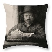 Self-portrait Drawing At A Window Throw Pillow