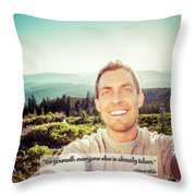Self Portrait From A Mountain Top Throw Pillow