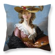 Self Portrait In A Straw Hat Throw Pillow