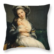 Self Portrait In A Turban With Her Child Throw Pillow