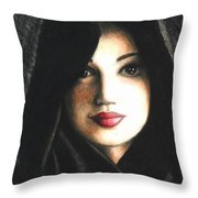 Self Portrait In Cape Throw Pillow
