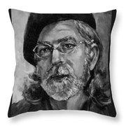 Self Portrait In Grey Throw Pillow