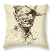 Self Portrait Of Frederic Remington Throw Pillow