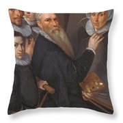 Self Portrait Of The Painter And His Family Throw Pillow