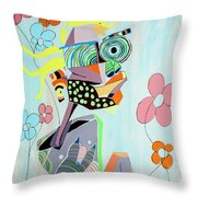 Self Portrait Pondering The Flowers Throw Pillow