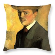 Self Portrait With Hat Throw Pillow