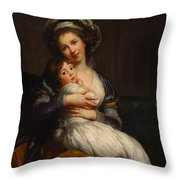 Self-portrait With Her Daughter Jeanne-lucie Throw Pillow