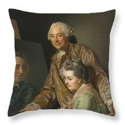 Self-portrait With His Wife Marie-suzanne Giroust Throw Pillow