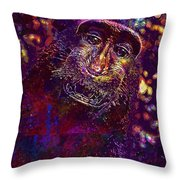 Selfie Monkey Self Portrait  Throw Pillow