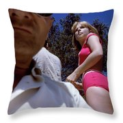 Selfie With Pink Bikini Girl Throw Pillow