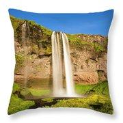 Seljalandsfoss In Iceland Throw Pillow