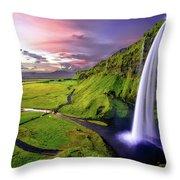 Seljalandsfoss Waterfall Throw Pillow