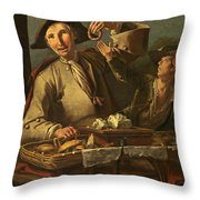 Seller Of Sweets And Donuts Throw Pillow