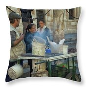 Selling And Roasting Chestnuts Throw Pillow