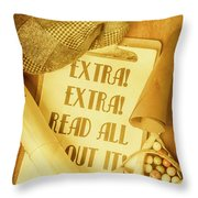 Selling The News Throw Pillow
