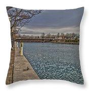 Seneca Falls Waterfront Throw Pillow