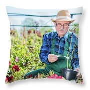 Senior Gardener Selecting A Tree. Throw Pillow