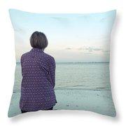 Senior Woman On The Beach  Throw Pillow