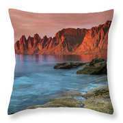 Senja Red Throw Pillow