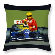 Senna And Mansell Throw Pillow