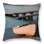 Sennen Cove Boat At Sunset Throw Pillow