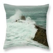 Sennen Cove Breakwater Throw Pillow