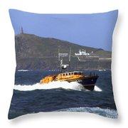 Sennen Cove Lifeboat Throw Pillow