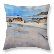 Sennen Cove Low Tide Throw Pillow