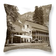 Sentinel Hotel And Ivy And River Cottages Circa 1895 Throw Pillow