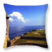Sentry Box And Sea Castillo De San Cristobal Throw Pillow