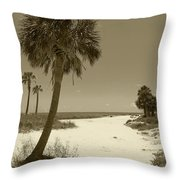 Sepia Beach Throw Pillow