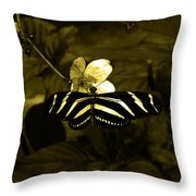 Sepia Butterfly And Flower Throw Pillow