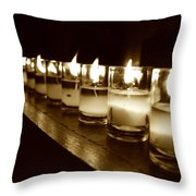 Sepia Candles Throw Pillow