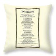 Sepia Chain Desiderata Poem Throw Pillow